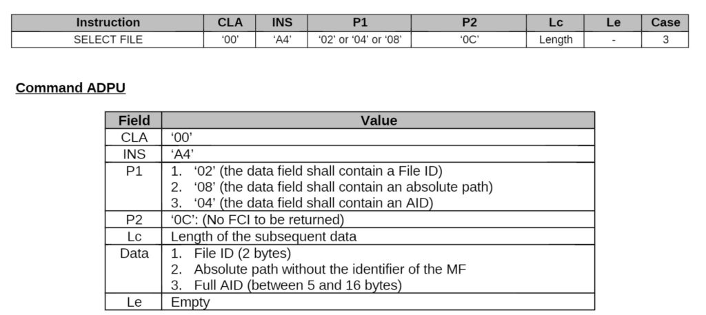 Select APDU documentation
